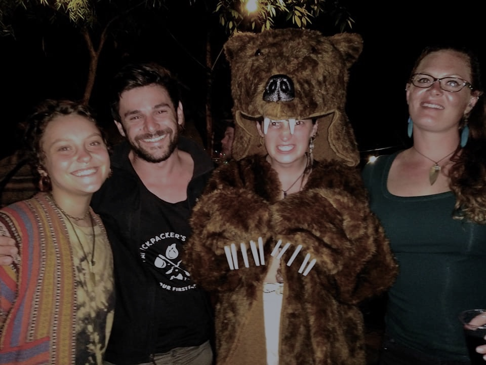 Friends in Pai, thailand and me in a bear suit